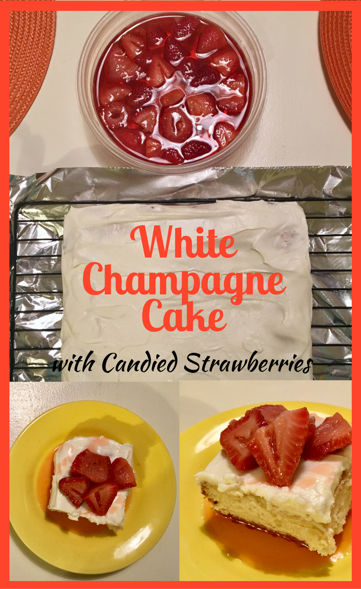 Champagne Cake with Candied Strawberries