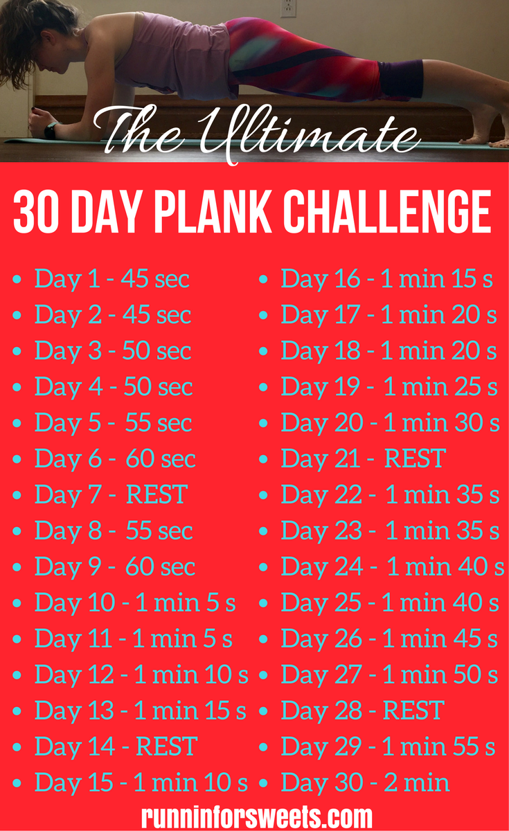 Download this printable 30 day plank challenge for free! You'll gain core strength and flatten your stomach in less than 2 minutes a day. This plank challenge is perfect for everyone from beginners to advanced! Get results and gain strength quickly with this simple ab challenge. #plankchallenge #abchallenge #30dayplankchallenge