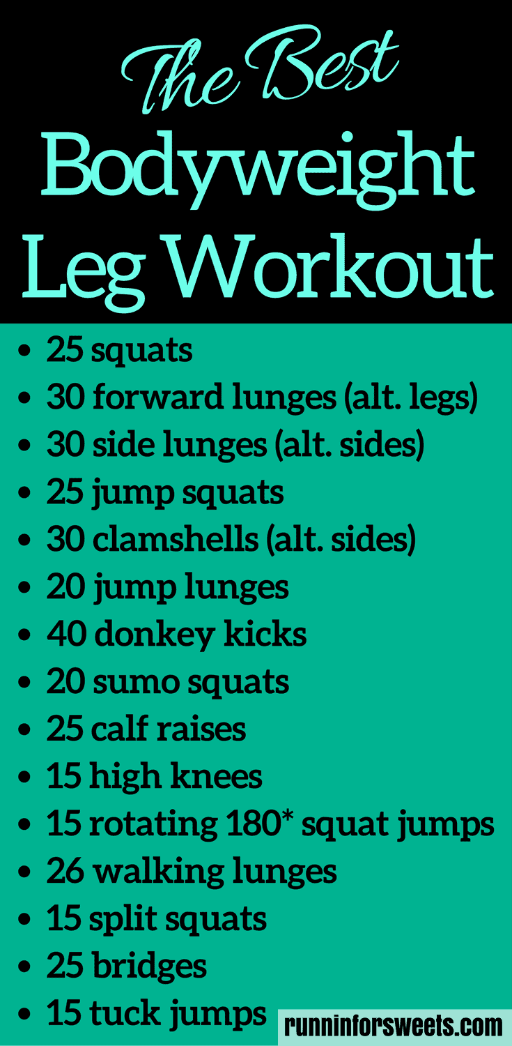 This 20 minute bodyweight leg workout requires no supplies and can be done in your living room. Slim your legs and build muscle for an ideal toning workout. For the ultimate strength gain and leg burn, try these moves!