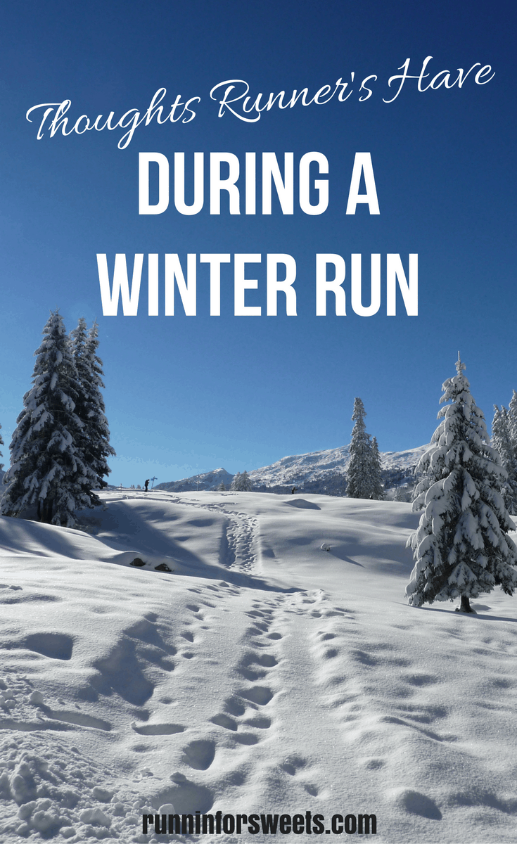 This winter running season has been especially brutal. As I trudge along into the wind, I question my own sanity and wondered why I don't pick a hobby that takes place indoors. Here are some of my favorite thoughts runners have during a cold, snowy, winter run.