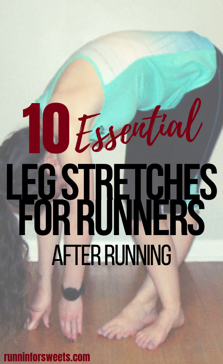 These 10 leg stretches for runners target all of the major lower body muscles: calves, hips, feet, shins, glutes and more. Check out the best leg stretches for running to relieve tight muscles, reduce pain and enhance post-run recovery. #legstretches #stretchesforrunners