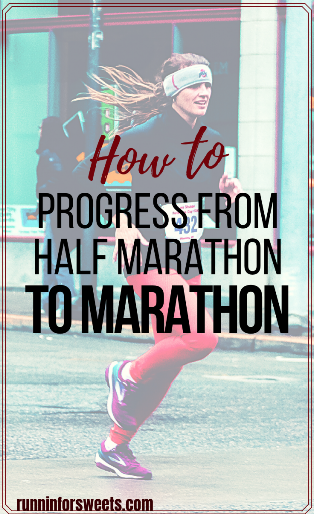 Ready to progress from half marathon to marathon? Here are 6 tips to make training for your first full marathon a success. Plus 3 training plans to choose from! #halfmarathontomarathon #fullmarathon #firstmarathon