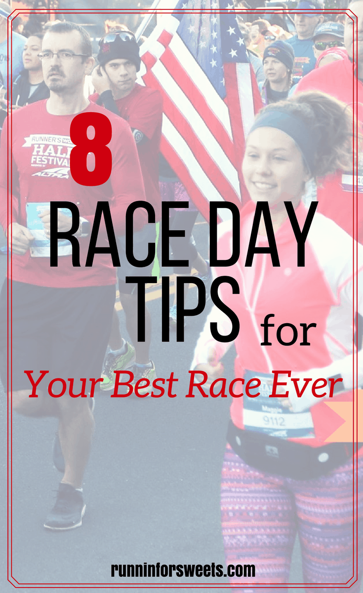Check out these awesome running race day tips to have your best race day ever! When race day is tomorrow, nerves and excitement can often get the best of runners. These race day prep tips cover everything from breakfast and meals, to training, logistics, and mental preparation. #racedaytips #runningraceday #racedayprep