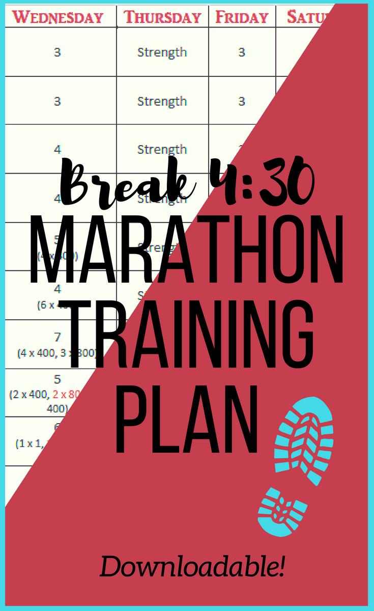 Break 4:30 Marathon Training Plan