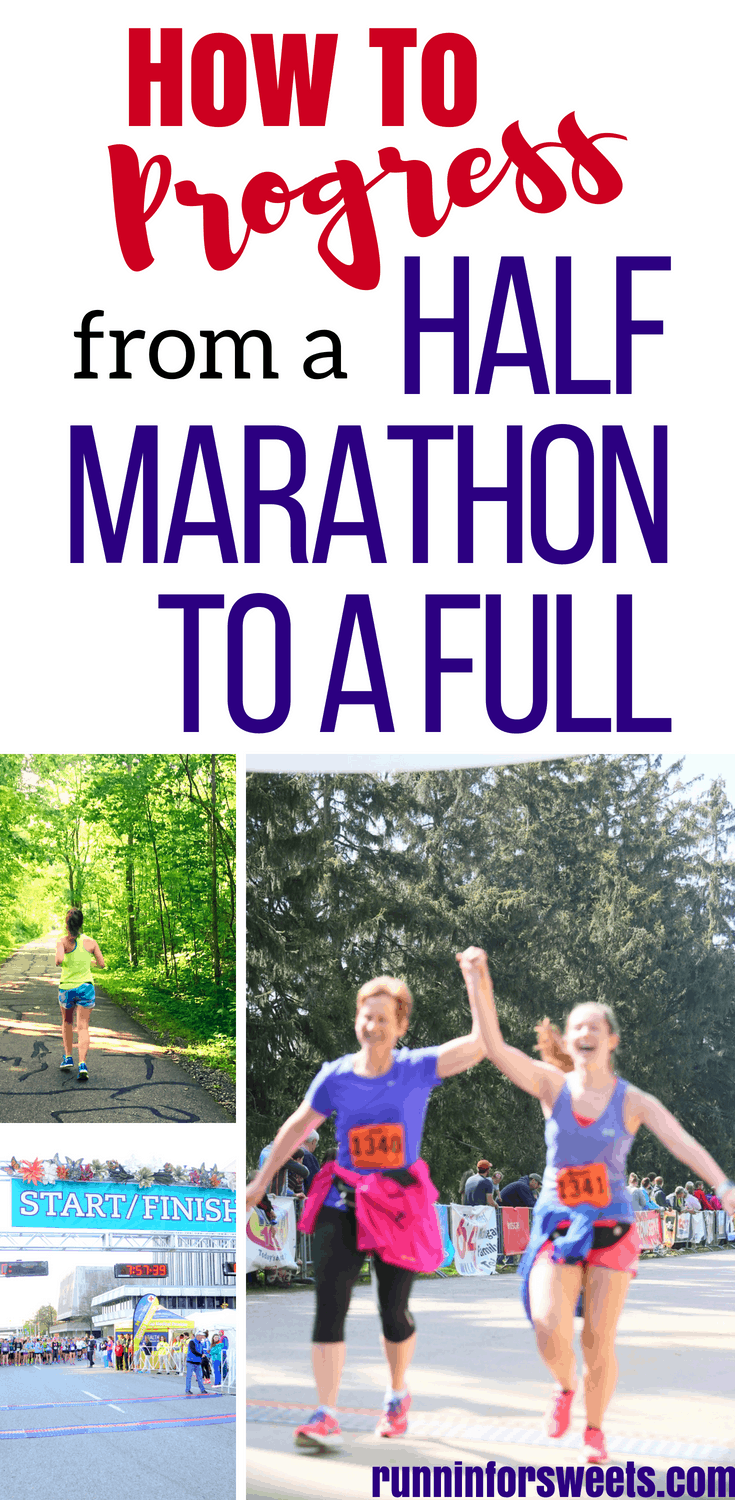 Are you ready to make the jump from half to full marathon training? Marathon training for the first time can feel a little intimidating. These essential tips will help you transition from half marathon to full marathon training with ease. Here's how beginner runners can use their half marathon training to progress to their very first marathon! #marathontraining #firstmarathon #halftofullmarathon