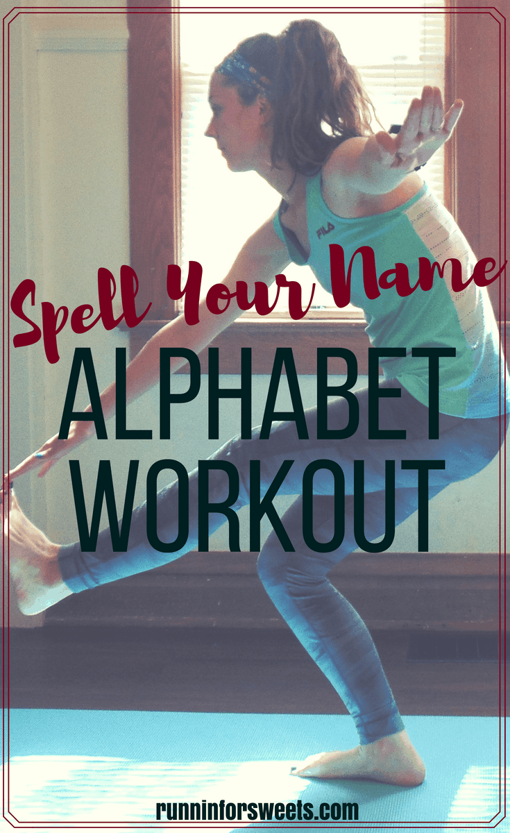 Try this alphabet workout with different a exercise for each letter! This workout can be easy, hard or anything in between. Make it a spell your name workout, try a different word a day, or work your way through the alphabet for the ultimate challenge. Work out your full body right at home! #alphabetworkout #spellyournameworkout