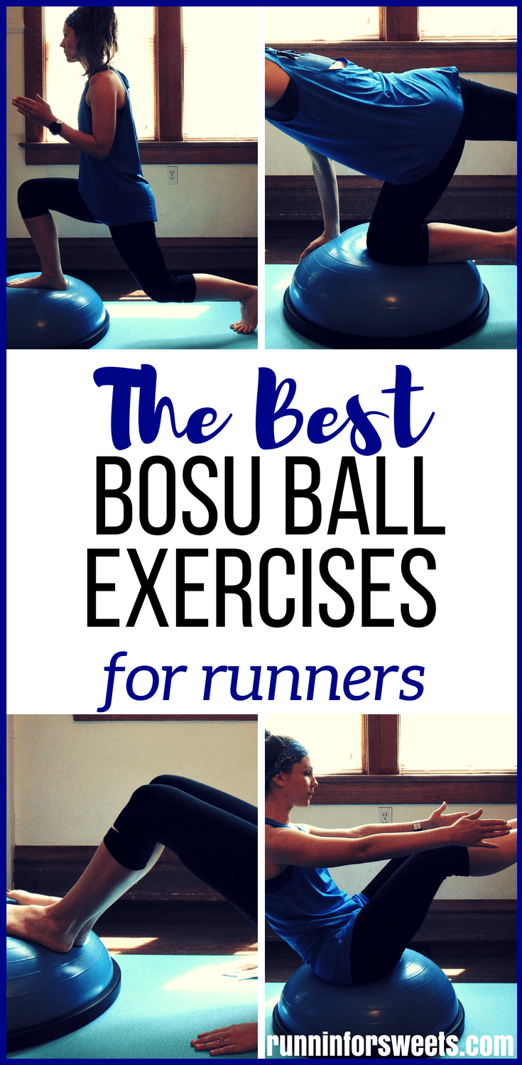This full body bosu ball workout for runners will greatly increase your strength while toning all your muscles! The bosu ball adds balance training to these classic bodyweight moves, intensifying their effect and building even more strength. It's perfect for beginners and advanced alike. You won't want to miss these bosu ball exercises! #bosuball #bosuballworkout