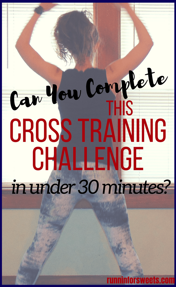 The ideal cross training workout for runners who are already busy with their training schedule: a 30 minute cross training workout challenge. This cross training workout can be completed right at home with no equipment. These cardio exercises help you burn the maximum calories and increase strength in little time. The best cross training workout to incorporate with your running plan, this challenge will keep you strong for life! #crosstraining #crosstrainingworkouts #runnerscrosstraining