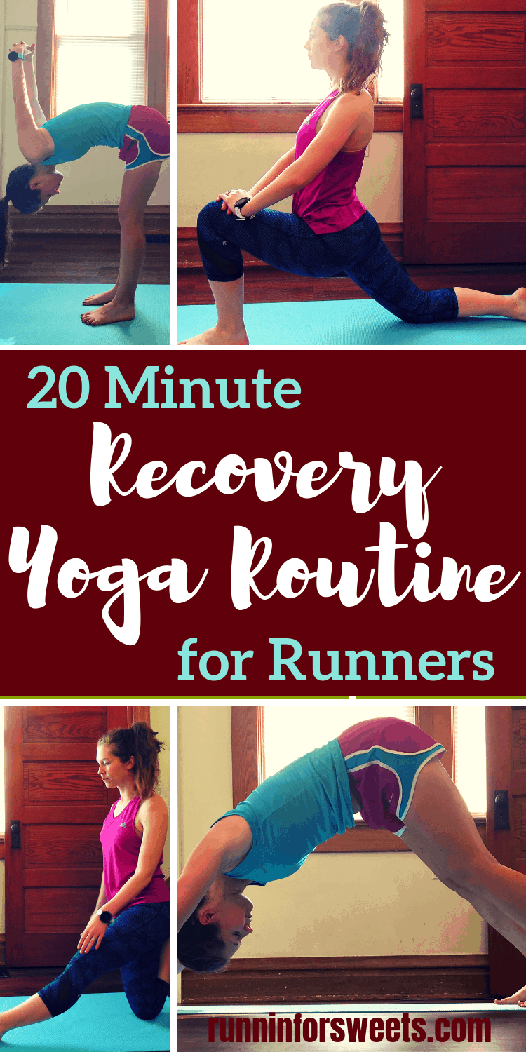 The ultimate source of recovery yoga routine for runners. These awesome yoga poses will enhance your recovery and keep you running injury free. Promote flexibility while alleviating tight hips, It band pain, and any lingering tightness in your legs with this yoga sequence for runners. Include it in your post run recovery routine or use it to enhance your rest days! The perfect addition to any training plan. #yogaforrunners #recoveryyoga #yogasequence #yogaposes