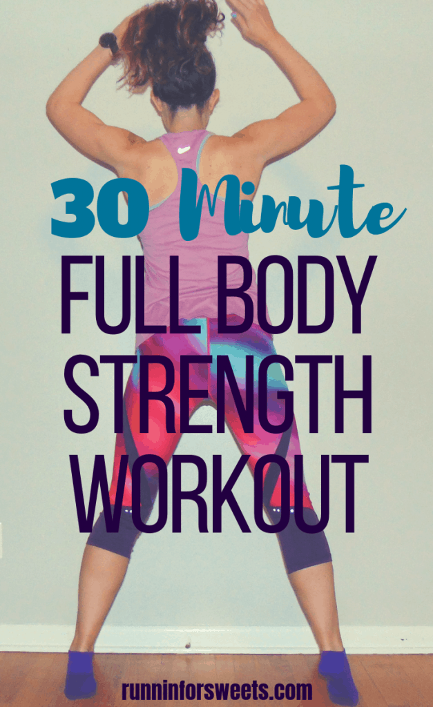 This 30 minute full body workout is the ultimate way to gain strength quickly, right at home. These full body strengthening exercises require no equipment and are a great challenge for beginners and advanced athletes alike! #fullbodyworkout #fullbodyexercises #athomeworkout