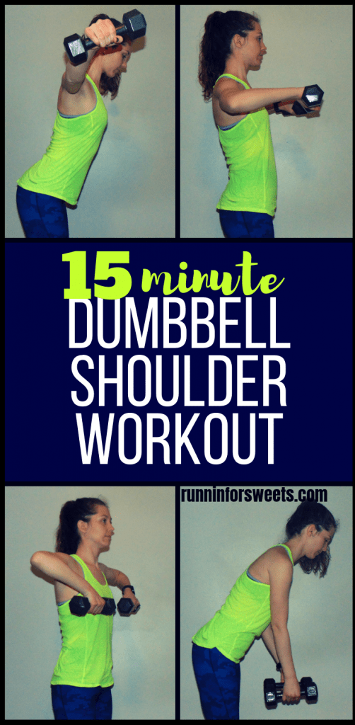 Tone your shoulders in no time with this 15 minute dumbbell shoulder workout! These shoulder exercises can be completed right at home with any size dumbbells. Reduce shoulder pain while toning and strengthening your shoulders with the ultimate workout. #shoulderworkout #shoulderexercises #dumbbellshoulderworkout