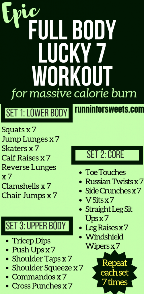 This Lucky 7 Workout is a great themed St. Patrick's Day workout before, on or after the big day! Pregame St. Paddy's Day with these body weight exercises to incorporate fitness into your celebrations, or detox after a night out. Strengthen and tone the lower body, core and upper body with these lucky 7 exercises for a great calorie burn!