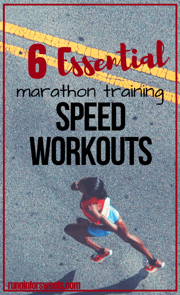 These 6 running workouts are essential for long distance runners during marathon training. Try each speed workout during half or full marathon training to run a faster marathon, increase your endurance, and conquer the distance. The perfect addition to any beginner through advanced marathon training plan! #runningworkouts #marathontraining #speedworkouts #marathonworkouts