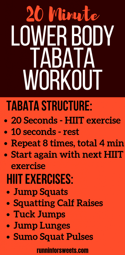 This lower body Tabata workout is the perfect mix of cardio, HIIT and isometric strengthening exercises! Each exercise requires no equipment so it can be completed right at home. This 20 minute lower body workout is the perfect way to tone your legs! #tabataworkout #lowerbodyworkout #legworkout #bodyweightworkout