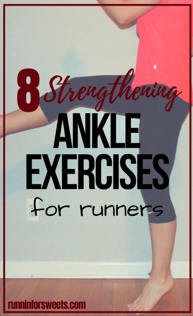 These 8 ankle exercises are a simple way to maintain optimal strength and stability for runners. Include these simple ankle strengthening exercises during your weekly strength training routine to banish weak ankles and prevent common injuries such as sprains, plantar fasciitis, shin splints and more. #ankleexercises #ankleworkout #anklestrength