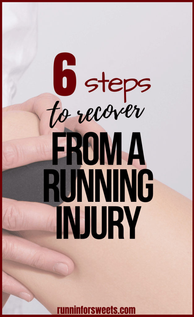 Follow these 6 steps for running injury recovery to return to running quickly and stronger than ever before. Running injuries are frustrating for all runners, whether you're experiencing pain in your feet, hips, calves, knees, ankles, or anywhere else. These recovery tips will have you pain free in no time! #runninginjury #returntorunning #runningpain #runningrecovery