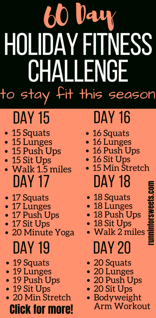 This 60 Day Holiday Fitness Challenge is the ultimate way to end your year feeling healthy and fit. Challenge yourself to daily holiday workouts starting November 1st, and find the motivation to prioritize your health throughout the holiday season. This plan requires no equipment, helping you stay fit right at home! #holidayfitness #holidayworkout #fitnesschallenge