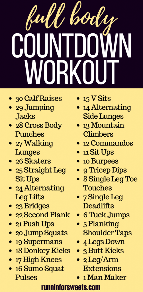 This at home countdown workout works your full body for a total body burn. Countdown from 30 to 1 with a mix of cardio and strength exercises! #countdownworkout #athomeworkout #fullbodyworkout