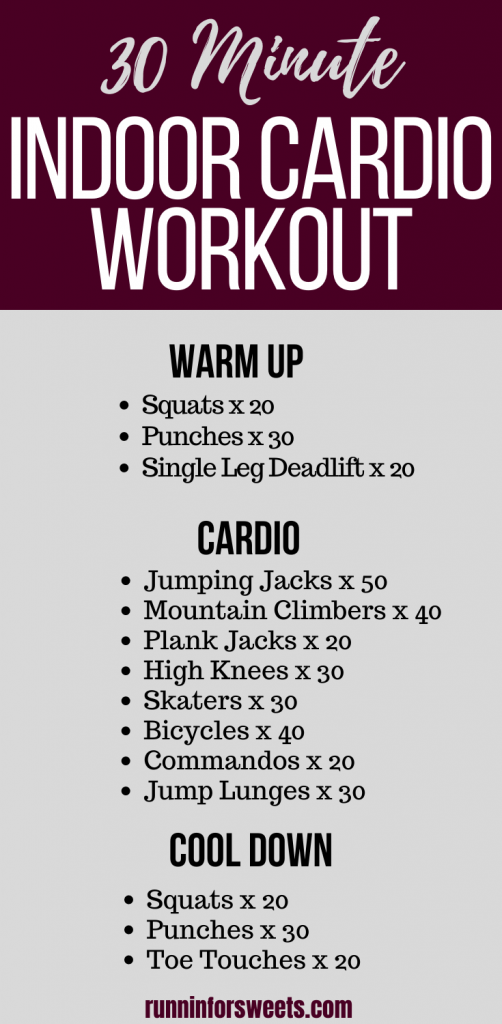 This 30 minute indoor cardio workout can be completed right at home with no equipment! Bur calories and strengthen your entire body with these powerful bodyweight exercises. #indoorcardio #athomeworkout #bodyweight workout