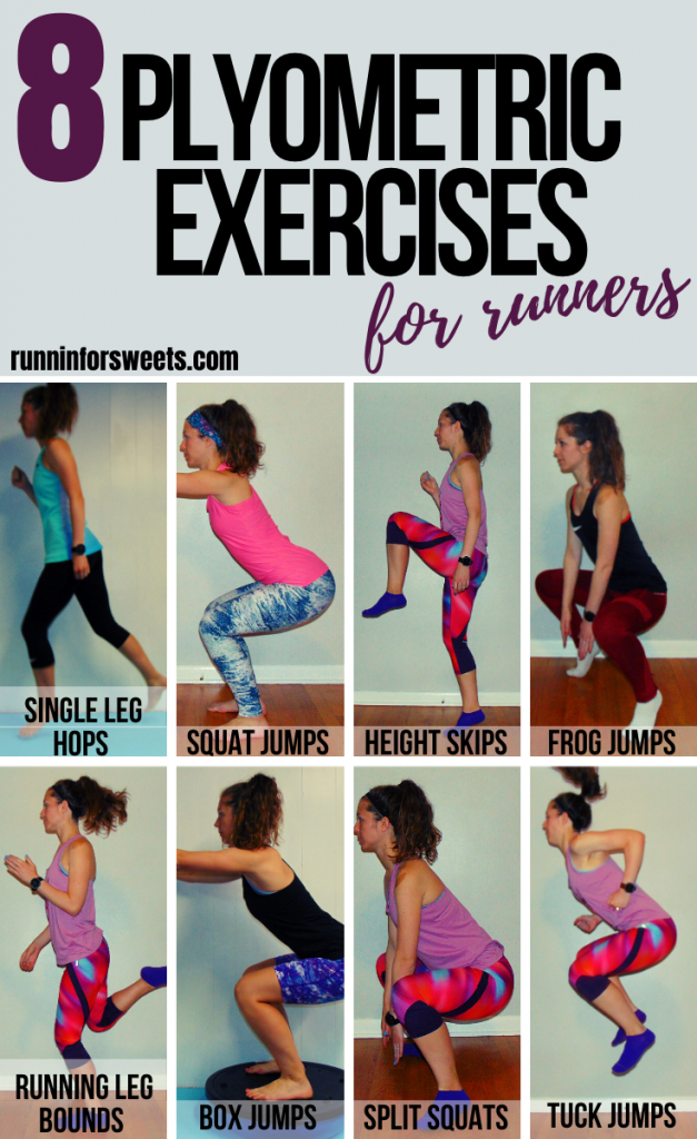 These 8 plyometric exercises for runners will help you gain speed, efficiency and power on the run. This plyometric workout is easily adapted for beginners to advanced athletes alike. Try these exercises to enhance your running! #plyometricexercises #plyometricworkout