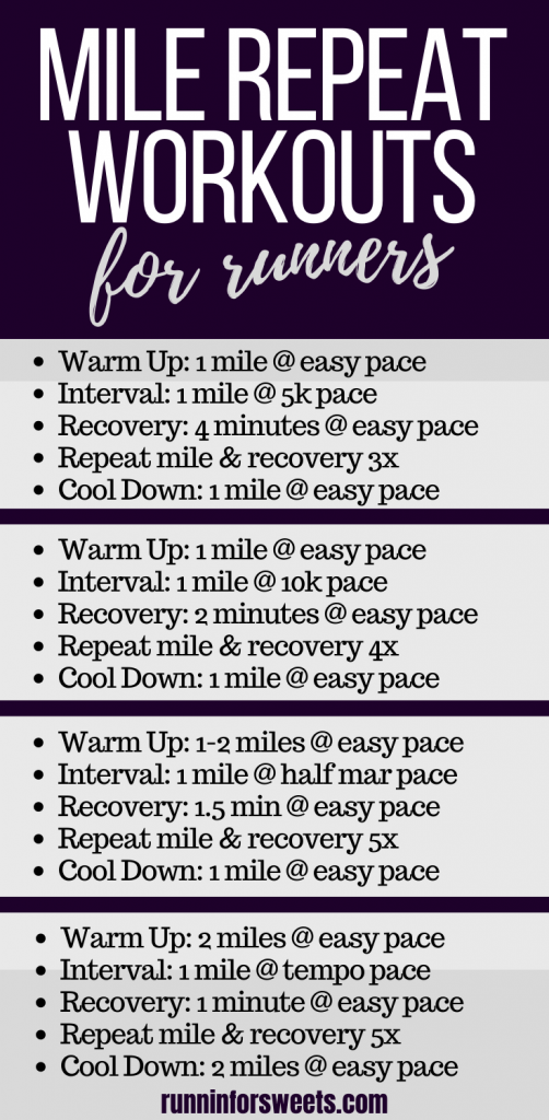 Mile repeats are a great running workout to help you get faster. Try any of these mile repeat workouts to help build endurance on the track, treadmill or outdoors. #milerepeats #runningworkouts