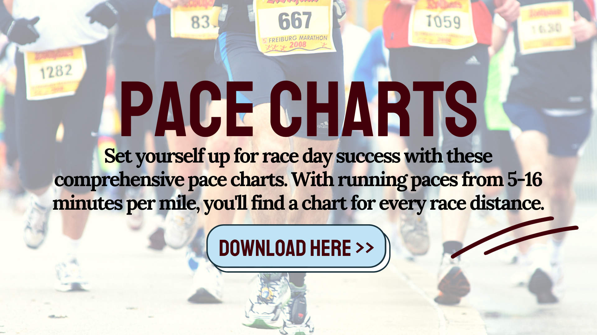 Download these running pace charts for free to guide you on race day and during training. Find mile splits and finish times for 5k, 10k, half marathon and marathon distances at all running paces. Plus an interval and treadmill pace chart! #runningpacecharts #runningpace #runningtraining