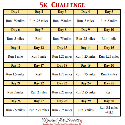 This 5k Challenge will have you running 3.1 miles in 30 days! Download this free 4 week 5k training plan for beginners to get started today. #5kchallenge #5ktrainingplan