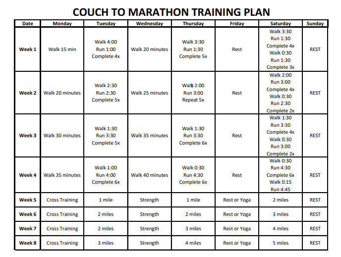 Couch to marathon in just 6 months! Download this free training plan to go from couch potato to marathon runner in 24 weeks.