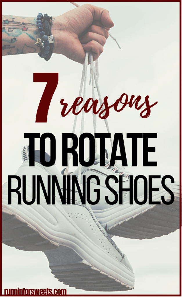 Rotating running shoes can improve your mental and physical performance, while helping you avoid running injuries. Here are 7 benefits of a running shoe rotation and how to get started. #rotatingrunningshoes #runninshoerotation