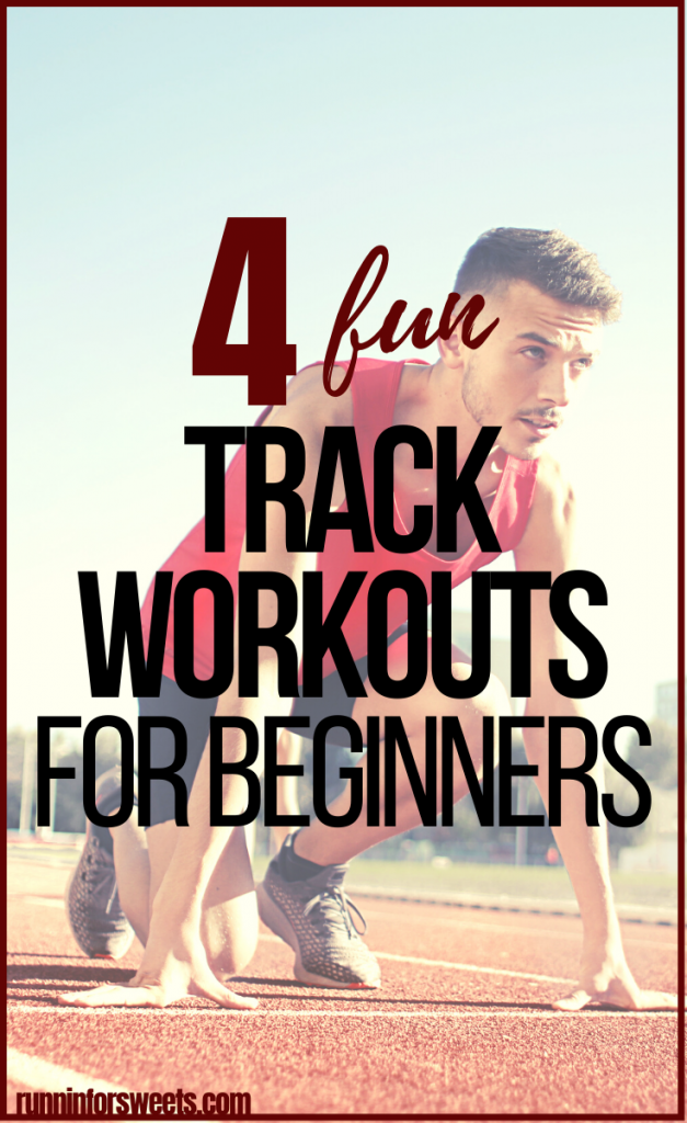These 4 track workouts for beginners will help you increase running speed and endurance. Try adding these fun track and field workouts to your regular running plan! #trackworkouts #trackandfieldworkouts #runningworkouts