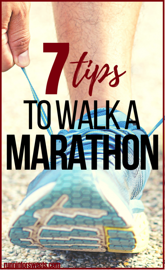 Use these 7 tips for walking a marathon, along with this 12 week marathon walking training plan, to cross the finish line. You'll be able to walk 26.2 miles with ease! #walkamarathon #marathonwalking