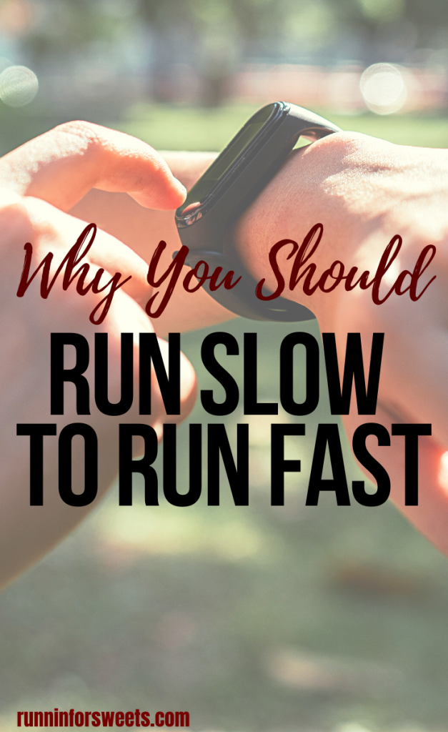 The run slow to run fast method can help increase running speed without risking injury. Here's how to use the 80/20 rule to run faster on race day while running slower in training! #runslowtorunfast