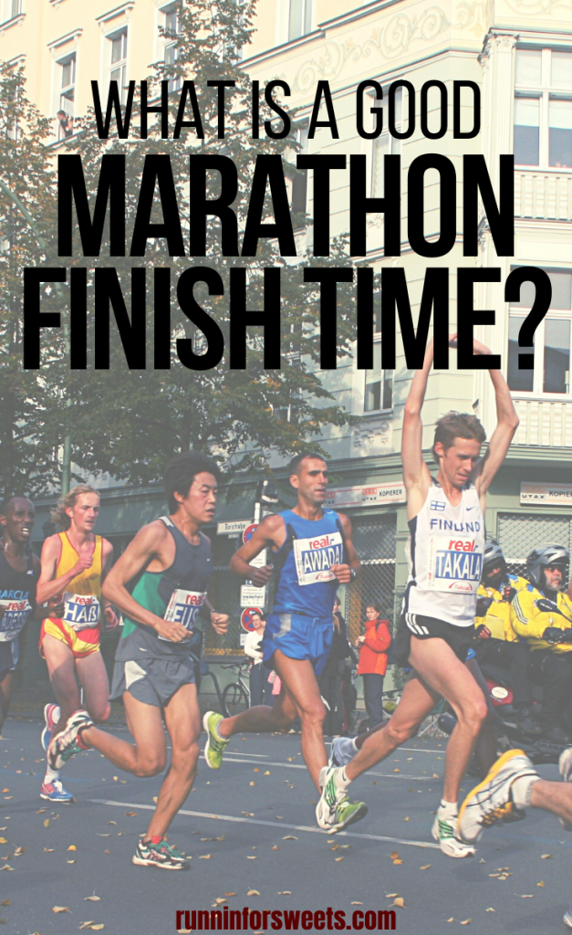 Wondering what a good marathon finish time is? Here are the average marathon finish times for men, women, first time runners and more! #marathon #marathonfinishtime